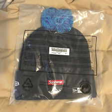 FW16 Supreme x NEW ERA Chenille Script Beanie NAVY Box Logo Hat Rare Camp Cap