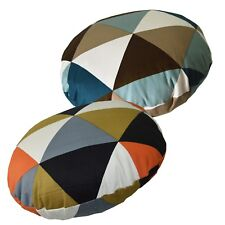 Flat Round Shape Cover*Triangle Cotton Canvas Floor Seat Chair Cushion Case*AK4