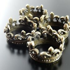 10PCs Antiqued Style Bronze Flower-de-lis Crown Ring Accessories Inner Size 13mm