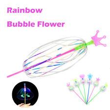 10PC Rainbow Magic Stick Wand LED Spinning Ribbon Bubble Flower Novelty Kid Toy