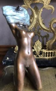 🎈Bronze Akt Junges Mädchen  Figur Im Jugendstil Art Deco Signiert Erotik