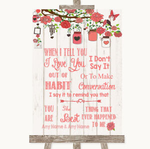 Wedding Sign Poster Print Coral Rustic Wood When I Tell You I Love You