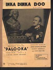 Inka Dinka Doo 1933 Jimmy Durante in Palooka Sheet Music