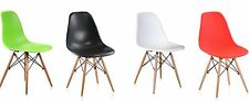 Set of 4 Eames Style DSW Wood Base Mid Century Modern Shell Dining Side Chair,