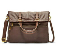 NWB Fossil Explorer Fold Over Tote Espresso Brown Leather SHB1521206 Dust Bag