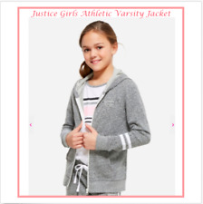 *NEW* JUSTICE GIRLS SIZE 8 SCHOOL LIGHT GRAY ATHLETIC HOODED VARSITY JACKET