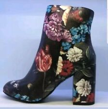 New Look Women's Black Flower Design Heeled Ankle Boots UK 6