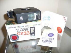SUNPAK GX33 Boxed Flash Unit With Manual - Good Working Order!
