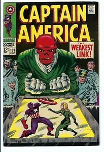 Captain America #103 VF Marvel Silver Age Red Skull Cover/Story  Kirby Art
