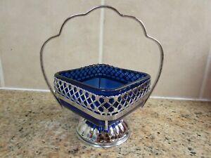Vintage Queen Anne Chrome and blue glass Sugar/Jam Dish.
