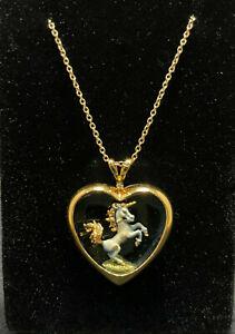 Franklin Mint 1987 Enamel Unicorn Necklace Gold Tone over Sterling 925