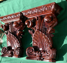 "Pair of Antique Carved Mahogany Corbel Sconces Wall Brackets LARGE 16.5"" x 13.5"""