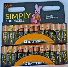 12 Duracell Simply AA Mn1500 Lr6 Batteries 1.5v Alkaline