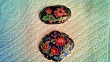 2 lot Vintage Cloisonne Belt Buckle Butter 00006000 Fly and Flower Design