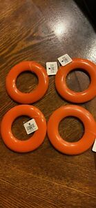 Crate and Barrel Modern Style Resin Napkin Rings - Set of 4 Orange New