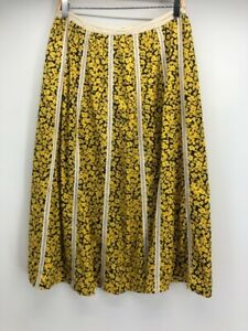 Womens A Line Skirt Yellow Black Floral Midi Tied Zip Up LIghtweight Boho S
