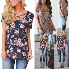Mode Damen Blume Shirt Tunika Bluse T-Shirt Tops Bluse Kurzarm Sommer Oberteil.