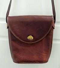 Oroton Sydney Australia Brown Flap Leather Crossbody Shoulder Bag