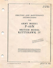 1943 P-40N Maintenance Manual Flight Manual Pilot's Handbook -CD Version-