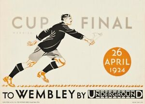 The Cup Final, 1924, Art Deco English Travel London Underground Football Poster
