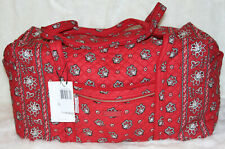 NWT VERA BRADLEY Iconic Trim Large Duffel Travel Weekender Bag Red Bandana