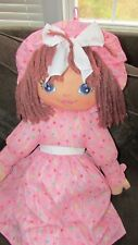 """Sweetie Mine large 48"""" brown-ish yarn hair plush rag doll pink w/ colored dots"""