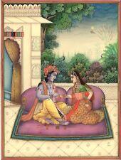 Krishna Radha Mehendi Art Handmade Indian Miniature Hindu Krishn Decor Painting