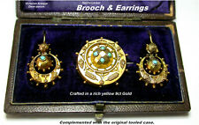 Antique Turquoise Brooch & Earrings 9ct Gold Victorian Secret Locket c1880s