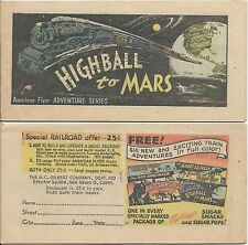KELLOGGS CEREAL AMERICAN FLYER ADVENTURE SERES HIGHBALL MARS MINI GIVEAWAY PROMO