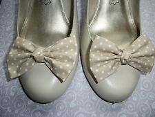 PAIR NUDE BEIGE WHITE POLKA DOT COTTON FABRIC BOW SHOE CLIPS VINTAGE 50s STYLE