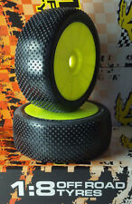 """SP """"Booster"""" 1/8 Buggy Tires Mounted on Yellow Rims Extra Super Soft  Mugen 9100"""