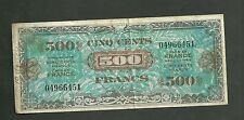 France Allied Military Curency #119A 500 Fancs VF Note  Foreign Papermoney