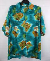 Alvish Men's Hawaiian Shirt 3XL XXXL Camp Shirt Water Island Coconuts Trees