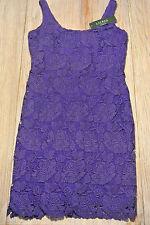 RALPH LAUREN $184 Womens PURPLE LACE Fully Lined Dress SIZE 6 SLEEVELESS **NWT**
