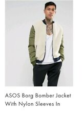 Asos Mens Borg Green Bomber Jacket Size Small (Chest 36-38 ins) New without tags