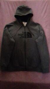 The North Face Mens Zip Up Fleece Hoodie Grey Track Jacket ,Size XXL - VGC
