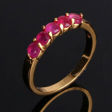 24k gold filled Promise ruby luxury wedding  fashion Journey ring Sz5/J-Sz9/R