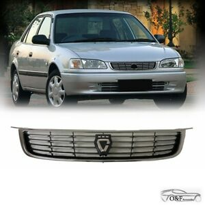 For 1998 2002 Toyota Corolla AE110 JDM Front Upper Black Chrome Grille with Logo