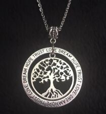 """Tree Of Life Pendant Necklace with 24"""" chain Round Silver Hope Dream Trust Love"""