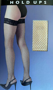 Women Silky Fishnet Lace Top Hold Ups Nude One Size