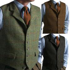 Herren Vintage Tweed Weste Wolle Herringbone Retro Notch Lapel Slim Fit S-XL-3XL
