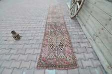 2.5x12.7 Herki Kurdish Runner Rug Vintage Shabby Chic Luxury Hallway Long Narrow
