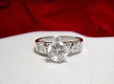 925 STERLING SILVER ROUND SOLITAIRE CRYSTAL W/ACCENTS ENGAGEMENT RING SIZE 7.5