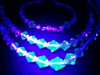 ART DECO URANIUM GLASS CRYSTAL SEA GREEN CLEAR TWO TONE STRAND VINTAGE NECKLACE