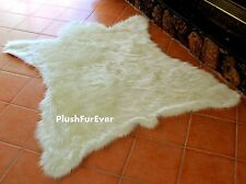 "58"" x 72"" Polar Bearskin Faux Fur Bear Rug Cottage Cabin Rustic Room Area Rugs"