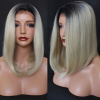 Fashion Bob Blonde Lace Front wig Short #1b/#613 Fiber Synthetic Hair Lace Wigs