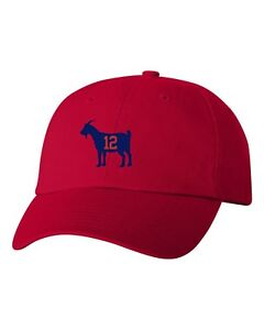 Goat Tom Brady Unstructured Dad Hat Headwear Cap Greatest Of All Time-Red