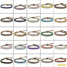 Wrap Knitted Adjustable Leather Bracelet Fit All Size Natural Gemstone Beads