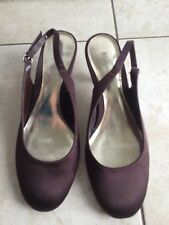 Monsoon Ladies Brown satin Sling Back Stiletto Shoes Size 37 /4 Great Condition.
