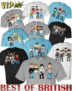 VIPwees Mens T-Shirt ORGANIC Cotton Best Of British Bands Inspired Choose Design